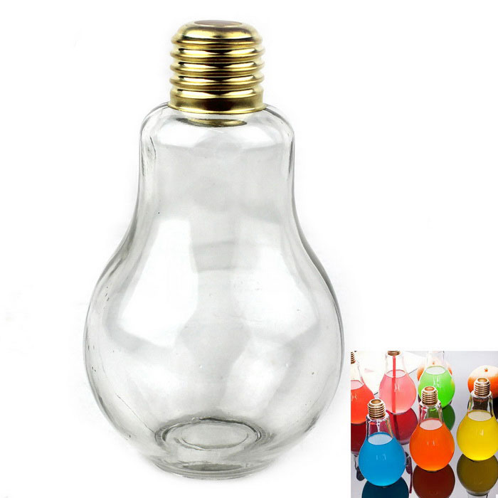 Bulb Style Beverage Drink Bottle 200ml Glass Ornament - Transparent