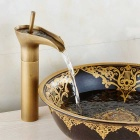 Winebowl Style Single Handle in Antique Brass Bathroom Sink Faucet