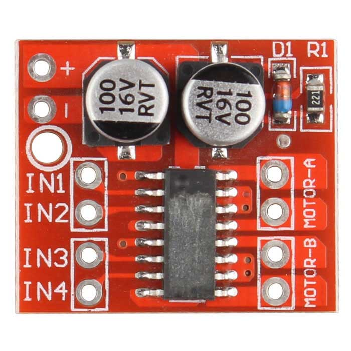 Dual Channel L298N PWM Speed DC Motor Driver Board - Red