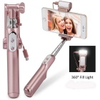 MOCREO Bluetooth Selfie Stick w/ 360' LED Fill Light + Rear Mirror