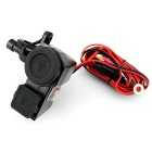 WUPP Motorcycle Wateproof Dual USB Charger Cigarette Lighter - Black