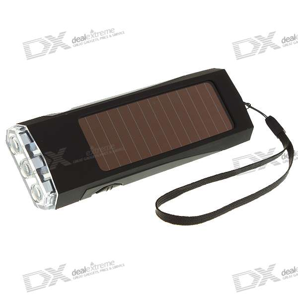 USB Rechargeable + Solar Powered Self-Recharging 3-LED Flashlight