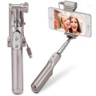 MOCREO Bluetooth Selfie Stick w/ LED Fill Light + Rear Mirror - Golden