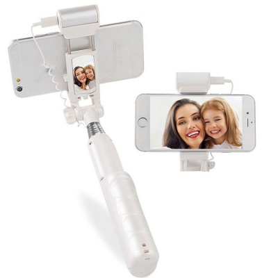 MOCREO Bluetooth Selfie Stick w/ LED Fill Light + Rear Mirror - White