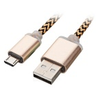 Thickened Twine Micro USB Data Cable - Gold + Coffee (97cm)