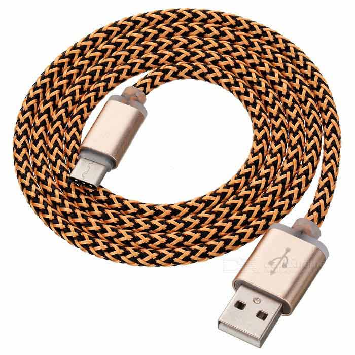 USB 2.0 to USB Type-C Data / Charging Cable - Gold + Coffee (97cm)