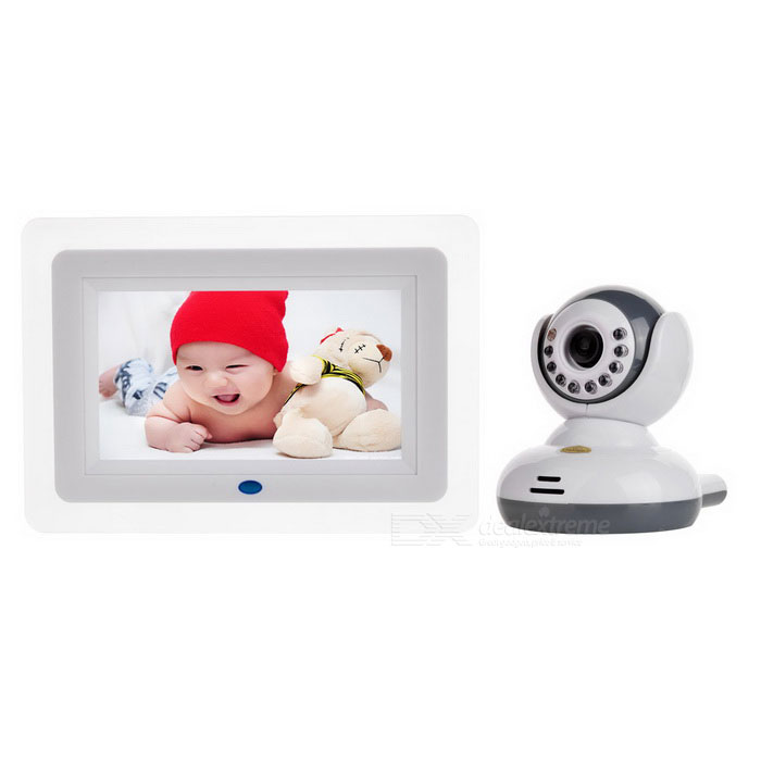 "2.4G Wireless 7"" LCD Baby Monitor - White (US Plug)"