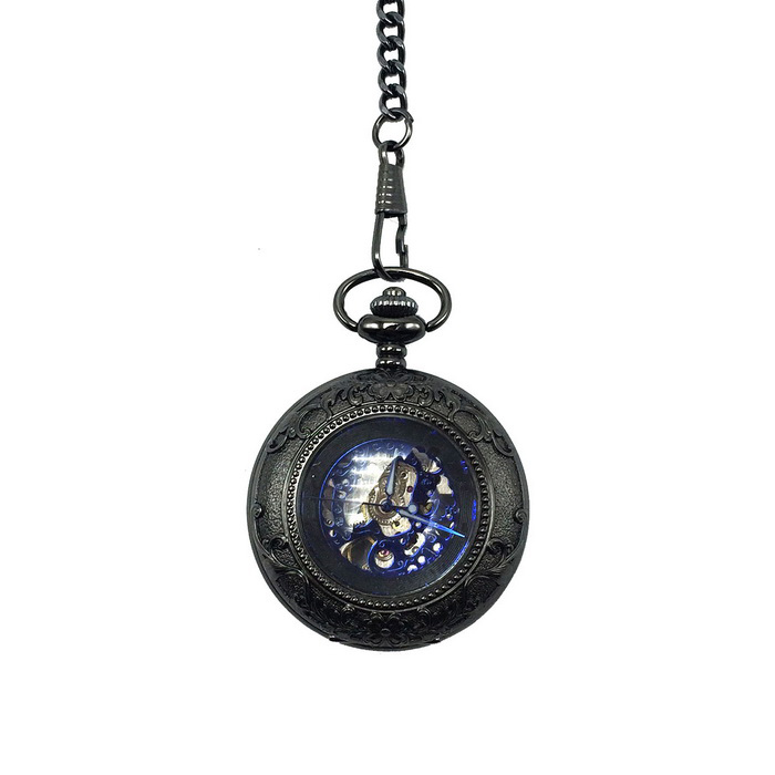 Retro Zinc Alloy Mechanical Analog Pointer Pocket Watch - Black