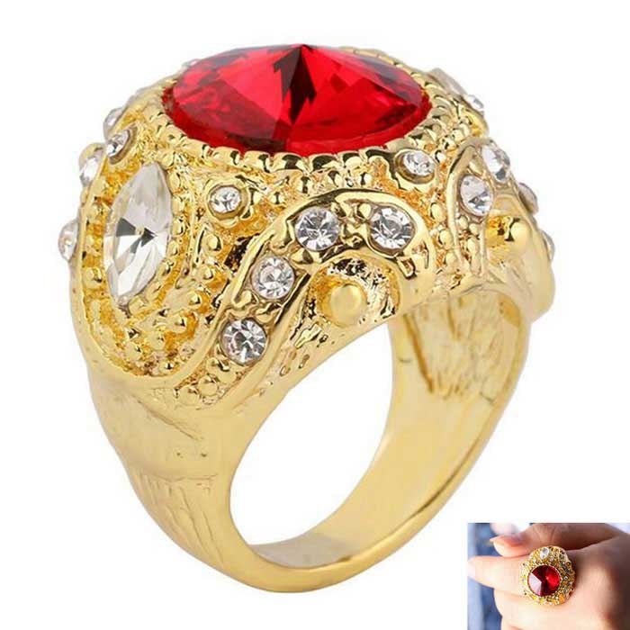 Ретро-мода Ruby + Rhinestones Inlaid Gold-Plated Alloy Ring