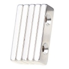 40*12*5mm Rectangle Neodymium NdFeB Magnet Dual Holes - Silver (5PCS)