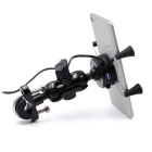 CS-416A3 USB Charging Motorcycle Phone Holder w/ Switch - Black