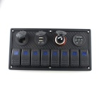 IZTOSS 8- Blue LED Indicators Rocker Switch Panel for Car Boat - Black