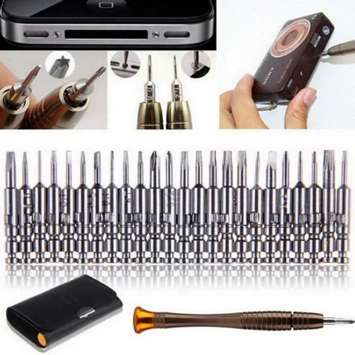 25-in-1 Screwdriver Repair Tool Kit - Black + SilverRepair Tools<br>Form  ColorBlack + SilverQuantity1 DX.PCM.Model.AttributeModel.UnitMaterialAlloy Steel + LeatherCompatible Modelsn/aPacking List24 * Screwdriver1 * Knob1 * Exquisite Leather<br>