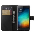 PU Leather Wallet Cases w/ Card Slots for Xiaomi Mi 4C / 4i - Black