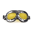 Motorcycle Cycling Outdoor Helmet Windproof PC Lens Glasses Goggles - Yellow + Black + Silver