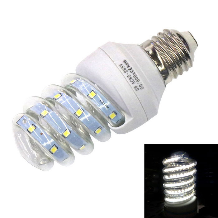 E27 5W Spiral Glass LED Lamp Cold White Light 6000K 390lm 24-2835 SMD