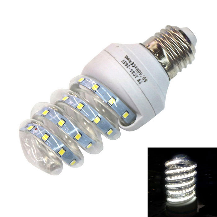 E27 7W Spiral Glass LED Lamp Cold White 6000K 560lm 36-2835 SMD
