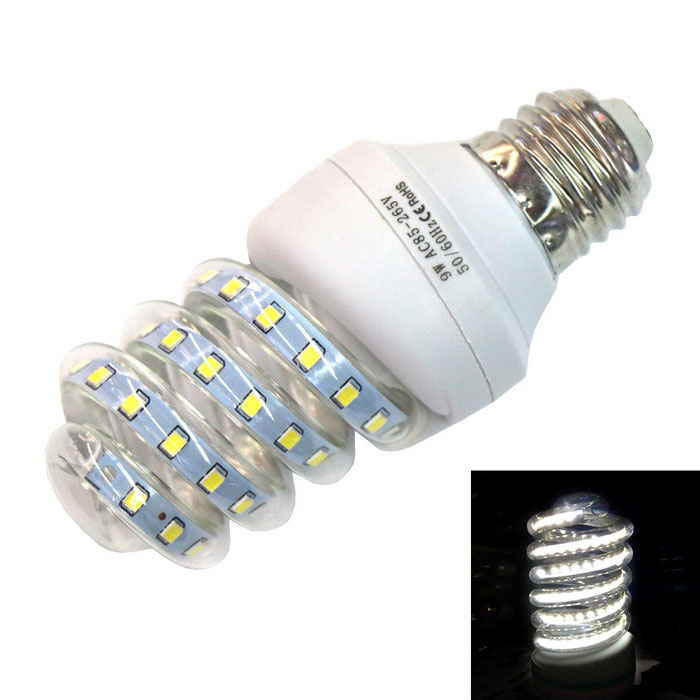 E27 9W Spiral Glass LED Lamp Cold White 6000K 720lm 48-2835 SMD