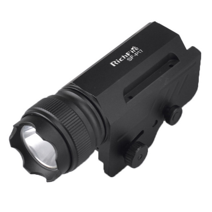 RichFire 20mm Gun Rail Tactical Pistol 3-Mode CREE XPG2 S4 Flashlight - BlackForm  ColorBlackModelSF-P17MaterialAluminum alloyQuantity1 DX.PCM.Model.AttributeModel.UnitGun Type20mm gun railMount TypeWeaverLaser Wavelength/Laser ColorOthers,/Other FeaturesReverse clicky; Right to left toggle switchPacking List1 * Flashlight1 * CR123A Batetry<br>