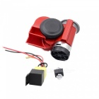 12V Car Motorcycle Air Horn w/ Red Transmission Terminal Cable - Red