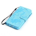 BLCR Butterfly Pattern PU + TPU Wallet Case for IPHONE 6/6S - Sky Blue