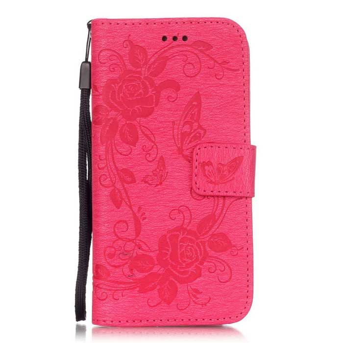 BLCR Butterfly Pattern PU+TPU Wallet Case for IPHONE 6/6S - Dark Pink