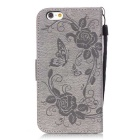 BLCR Butterfly Pattern PU + TPU Wallet Case for IPHONE 6 / 6S - Gray