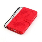 BLCR Butterfly Pattern PU + TPU Wallet Case for IPHONE 6 / 6S - Red