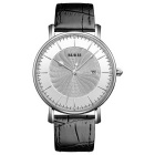 BUREI Men's Windmill Style Dial Leather Strap Watch - Black + Silver