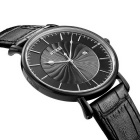 BUREI Men's Simple Windmill Style Dial Leather Strap Watch - Black