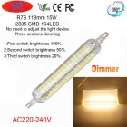 1200lm 3000K R7S 15W 2835 SMD 164-LED Light Dimmable Corn Bulb Lamp (AC 220~240V)