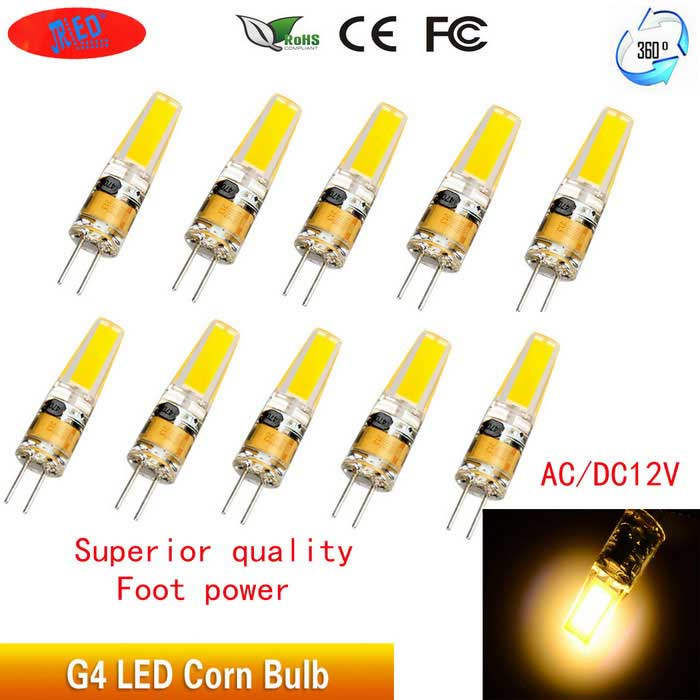 JRLED G4 2W varmvitt ljus 1505-COB LED Corn Bulb (DC 12V / 10 PCS)