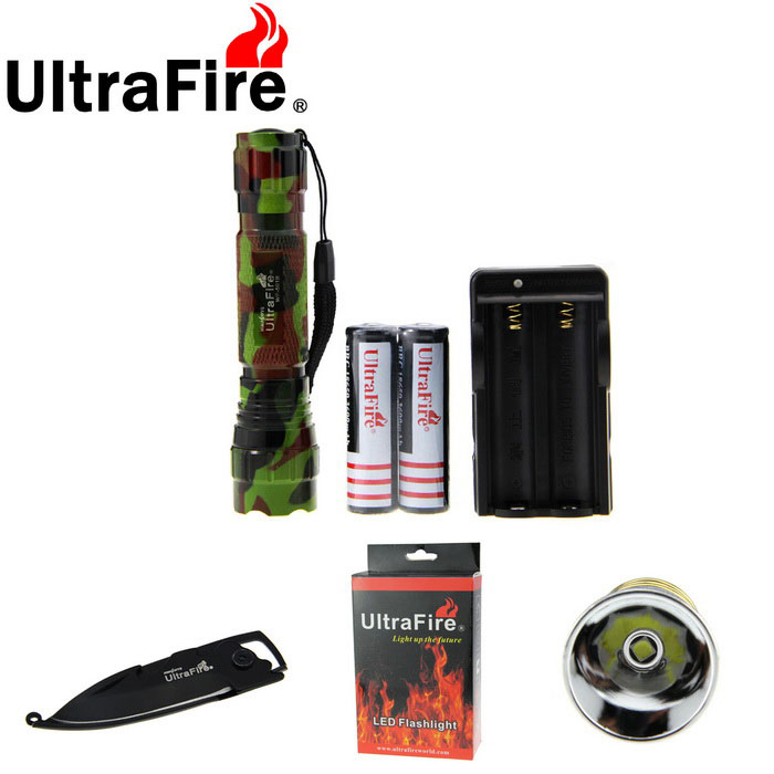 Ultrafire XP-L V5 889lm 501B Outdoor Flashlight Light - Army Green