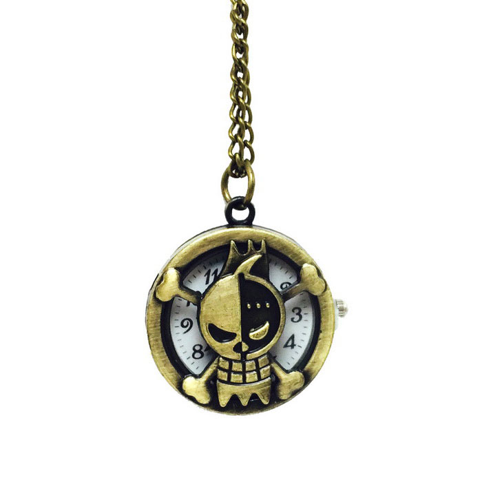 Pirate Style Zinc Alloy Quartz Necklace Pocket Watch - Bronze
