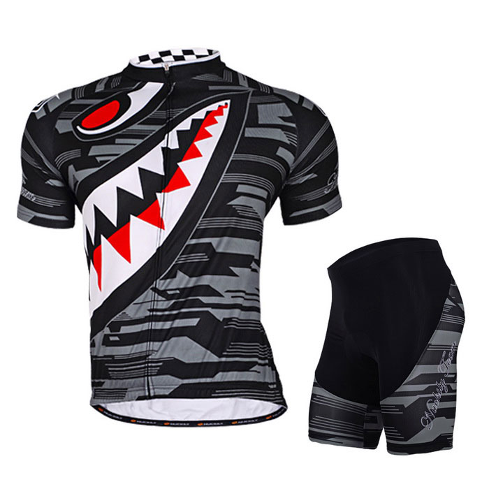 NUCKILY Sharp Teeth Pattern Cycling Short-Sleeve Jersey + Short Pants
