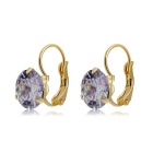 Xinguang Women's Elegant Round Earrings - Purple + Gold (Pair)