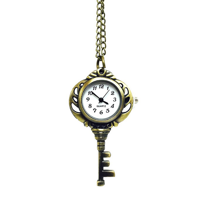 Key Style Zinc Alloy Quartz Necklace Pocket Watch - Bronze