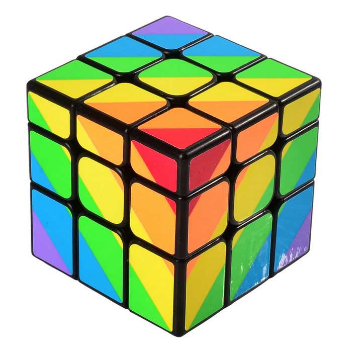 YJ 3 * 3 * 3 inequilateral Magic Cube IQ - Black + Multicolor