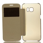Protective Leather + ABS Case for GALAXY S7 Edge - Gold