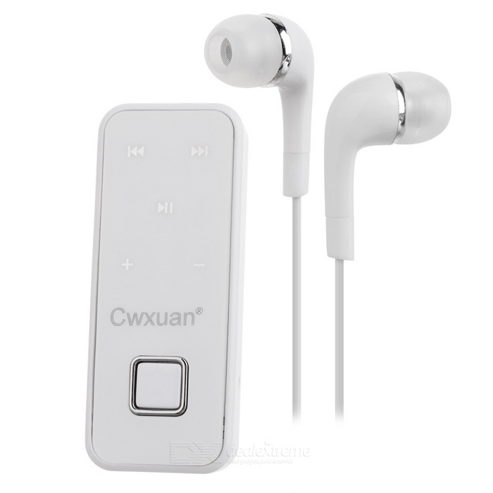 Cwxuan Collar Clip-on In-ear Stereo Bluetooth Earphone - White