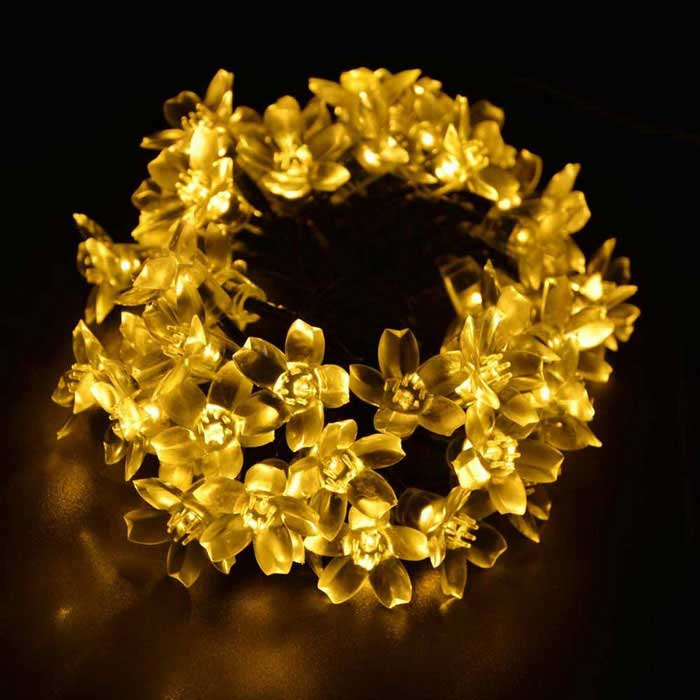 LED Natal Flower Starry String luzes 33ft 80 LEDs 4.8W-quente branco