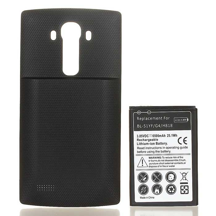 Replacement 6500mAh Li-ion Battery + Back Case for LG G4 + More