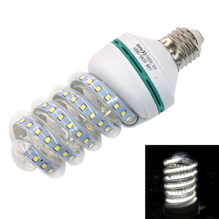 E27 16W 1280lm 80-2835 SMD spirale style CFL froid ampoule blanche