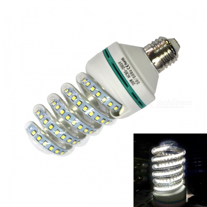 E27 20W 1600lm 100-2835 SMD Spiral Style CFL Cold White Light Bulb