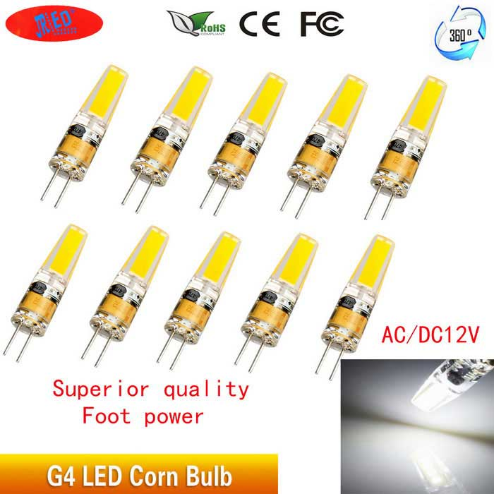 JRLED G4 2W 1505 COB Cold White LED Light Bulbs (10PCS)