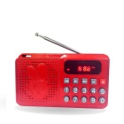 Rádio Portátil FM / MP3 Player w / TF Slot, porta USB, Display LED para Idosos - Red