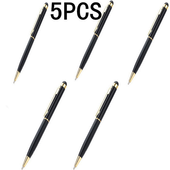 Capacitive Screen Stylus Pen w/ Ballpoint Pen - Black + Gold (5 PCS)