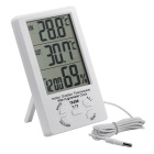 TA298 Indoor Outdoor Therometer w/ Hygrometer Clock - White