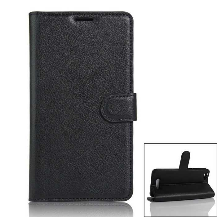 Protective PU Full Body Case w/ Card Slot for Cubot Note S - Black