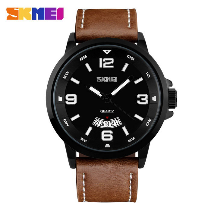 SKMEI 9115 Mens 50 Meters Waterproof Calendar Quartz Watch - CoffeeQuartz Watches<br>Form  ColorCoffeeQuantity1 DX.PCM.Model.AttributeModel.UnitShade Of ColorBrownCasing MaterialAlloyWristband MaterialCalendarSuitable forAdultsGenderMenStyleWrist WatchTypeCasual watchesDisplayAnalogBacklightNOMovementQuartzDisplay Format12 hour formatWater ResistantWater Resistant 5 ATM or 50 m. Suitable for swimming, white water rafting, non-snorkeling water related work, and fishing.Dial Diameter4.8 DX.PCM.Model.AttributeModel.UnitDial Thickness1.1 DX.PCM.Model.AttributeModel.UnitWristband Length26 DX.PCM.Model.AttributeModel.UnitBand Width2.2 DX.PCM.Model.AttributeModel.UnitBatterySR626SW*1Packing List1 * Watch<br>
